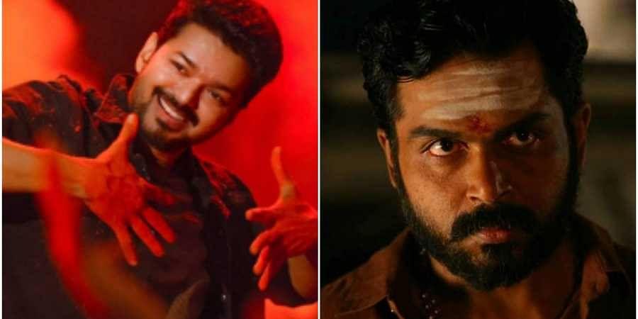 Vijay in 'Bigil' (L) and Karthi in 'Kaithi'