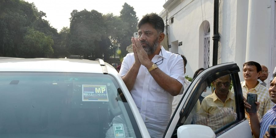 Karnataka Congress leader DK Shivakumar after meeting with senior party leader KC Venugopal at Congress headquarter in New Delhi.