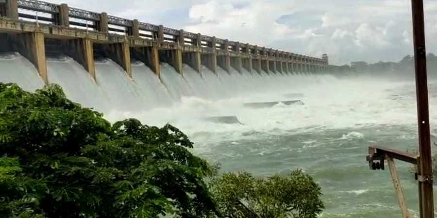 Flood water was released at Tungabhadra dam with huge inflows on Tuesday