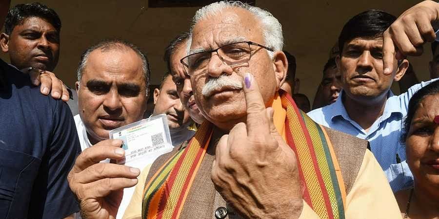 Politicians-vote-in-Haryana assembly elections 2019-Photos