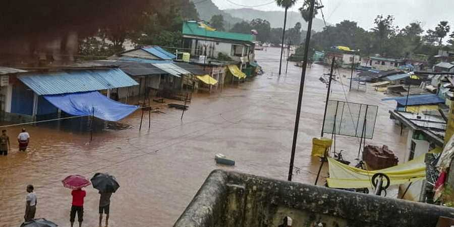 A view of a flooded locality after heavy monsoon rains at Bhamragad in Gadchiroli district of Maharashtra Monday September 9 2019. | PTI