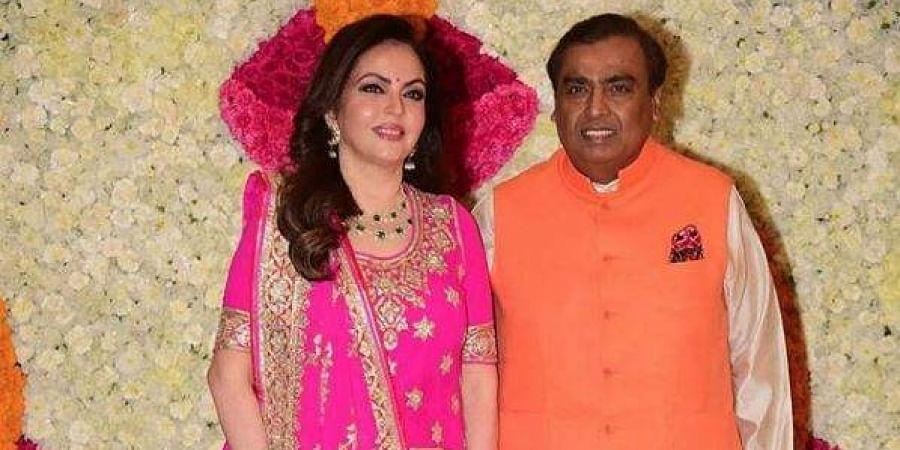 Mukesh and Nita Ambani at the Diwali bash.