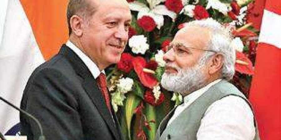 Recep Tayyip Erdogan and Narendra Modi.