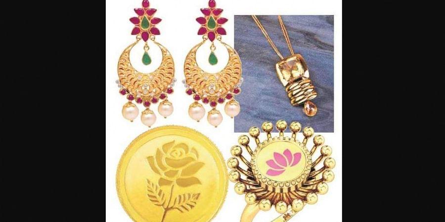 Gold items from brands Joyalukkas, Vaitaanika, Candere by Kalyan Jewellers and Malabar Gold.