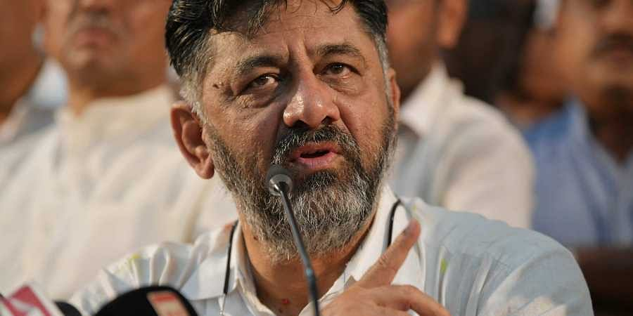 Shivakumar reaches Bangalore and addresses the press at the KPCC office on Saturday in Bangalore.