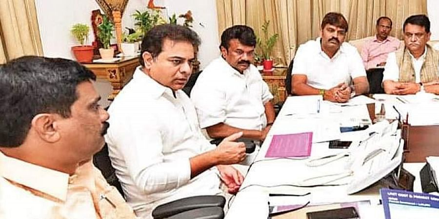Minister KT Rama Rao holds a meeting on 2BHK scheme in Hyderabad.