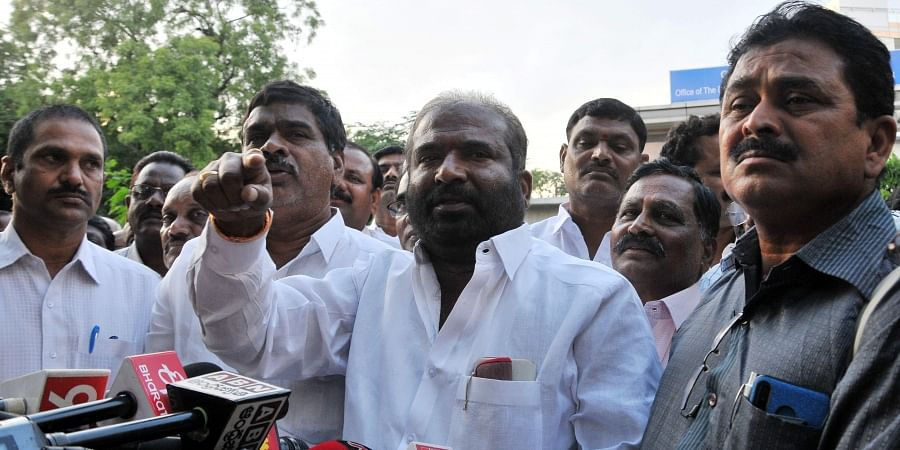 JAC leaders, including Ashwathama Reddy, address the media after their meeting with RTC officials in Hyderabad.