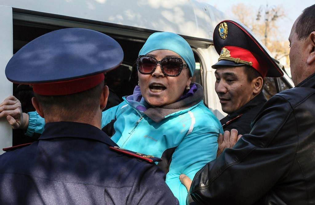 Kazakh police detain protestors in Almaty, southeastern Kazakhstan, on October 26, 2019. More than two dozen people were detained in Kazakhstan's main cities after a banned opposition group called for a protest against the government and Chinese economic expansion.