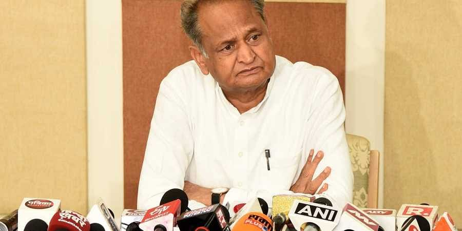 Rajasthan Chief Minister Ashok Gehlot addresses a press conference at his residence in Jaipur