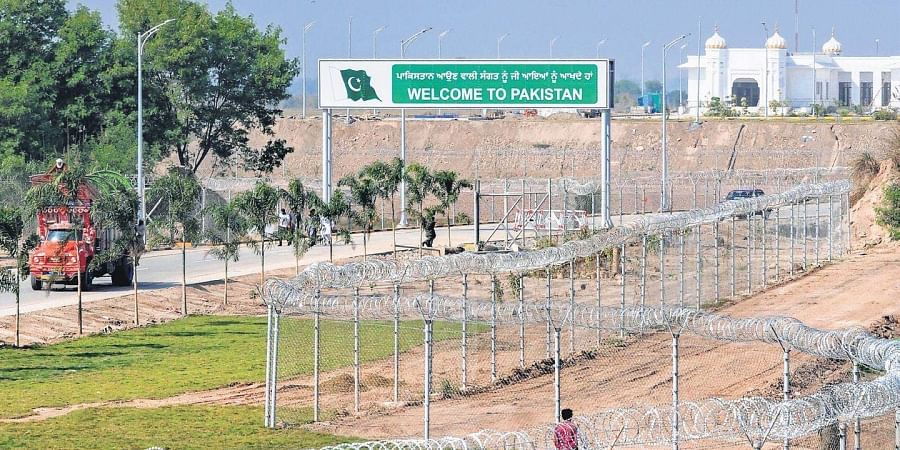 Construction works underway at the Kartarpur Corridor on the Pakistan side