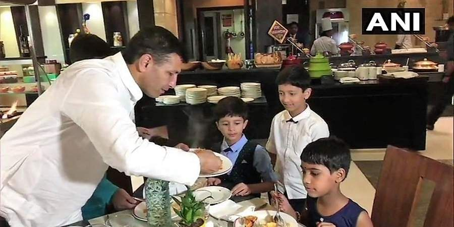 Madhya Pradesh Minister Jitu Patwari organised a lunch for underprivileged children at a five star hotel in Indore on the occasion of Diwali.