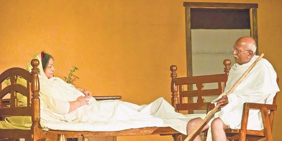 Actors Rashmi Seth and Vijay Prasad in a scene from Kasturba