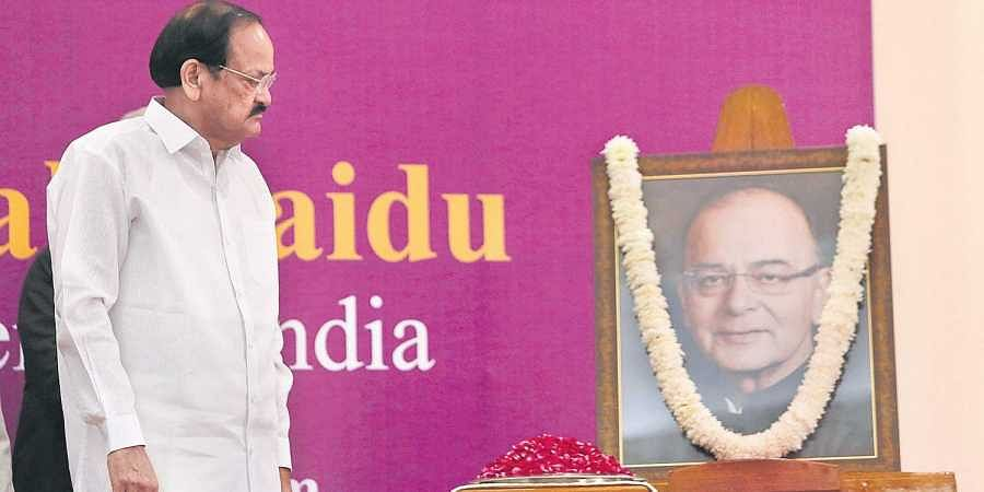 Vice-President M Venkaiah Naidu during the first Arun Jaitley Memorial lecture in New Delhi on Tuesday