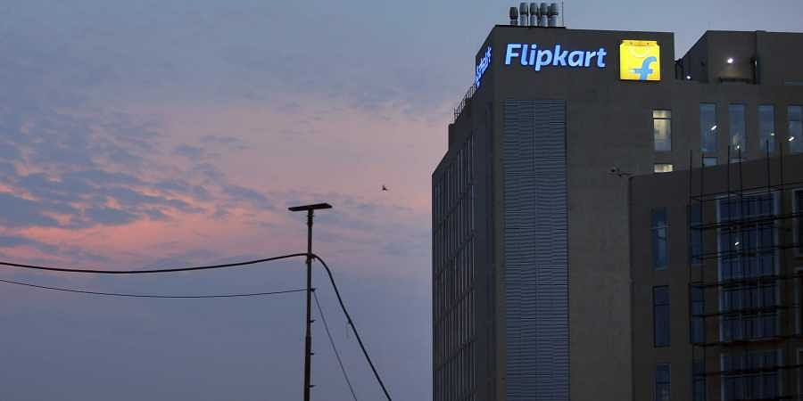 The lit company logo is seen at India's giant online retailer Flipkart's headquarters in Bangalore. (Photo | AP)