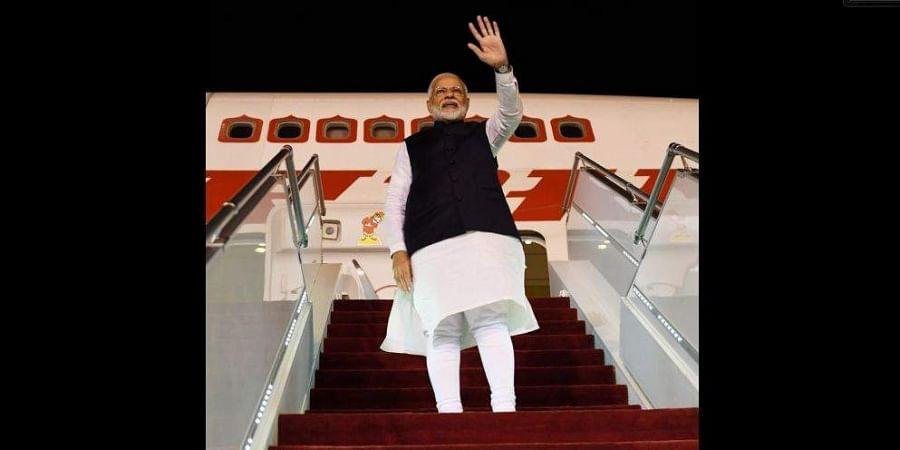 PM Modi departing from Saudi Arabia.