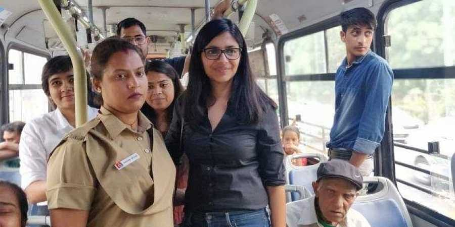 The Delhi Commission for Women chief boarded a bus from ITO bus stop towards Police Headquarters.