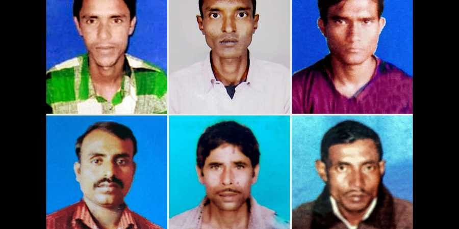 (Clockwise from top left) Kamaruddin Seikh, Jahiruddin Seikh, Rafikul Seikh, Naimuddin Seikh, Rafik Seikh and Murshelim Seikh were labourers from Murshidabad district of West Bengal who were allegedly killed in a militant attack in south Kashmir's Kulgam district on Tuesday