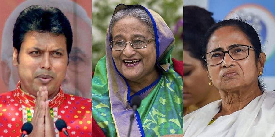 Tripura CM Biplab Deb, Bangladeshi PM Sheikh Hasina and West Bengal CM Mamata Banerjee.