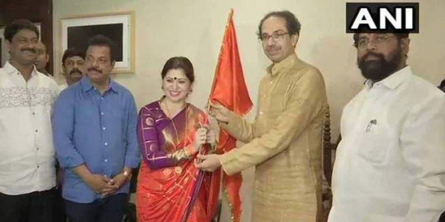 Marathi actress Deepali Sayed joined the Shiv Sena on 4 October 2019. (Photo | ANI Twitter)