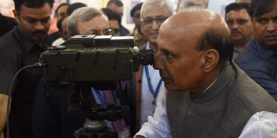 Defence Minister Rajnath Singh Visits a stall during 22nd India International Security Expo 2019 Defence and Homeland Security at New Delhi's Pragati Maidan on Friday