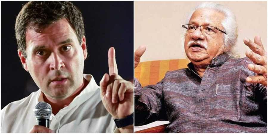 Congress leader Rahul Gandhi and filmmaker Adoor Gopalakrishnan. (Photos | EPS)