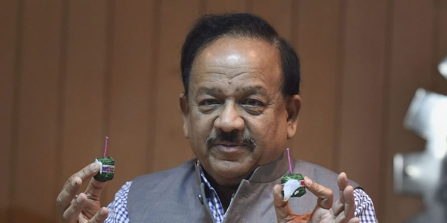 Minister for Science and Technology Harsh Vardhan launches a set of 'green crackers' developed by CSIR at Anusandhan Bhawan in New Delhi. (Photo   PTI)
