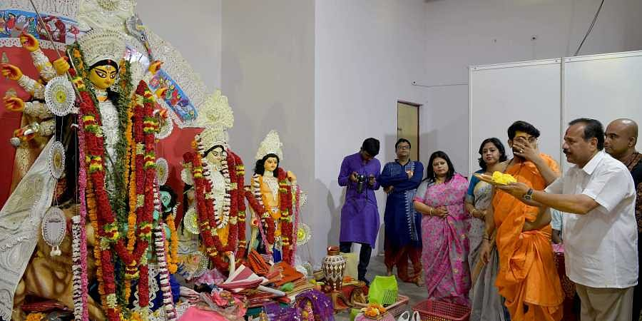 Sadananda Gowda attends Durgashtami celebrations in the Bengali Association on Sunday in Bangalore