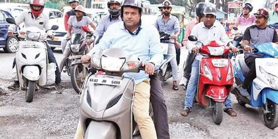 Mayor Goutham Kumar hopped on to a  scooter for his first city  round on Sunday