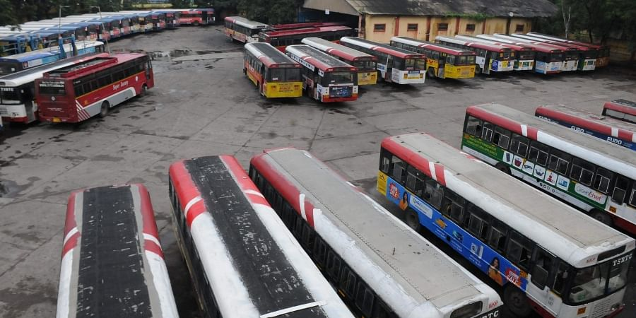 TSRTC busses parked at Barkatpura bus depot on the second day of their strike in Hyderabad on Sunday. | (Photo | EPS)