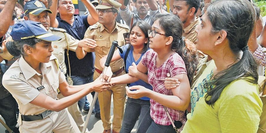 Police detain activists at Aarey colony in Mumbai, who were trying to stall the tree cutting process.