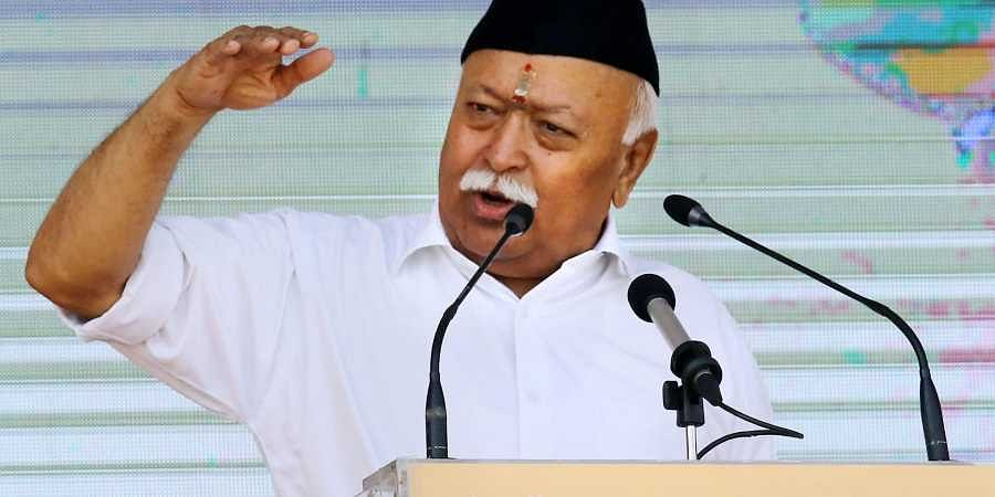 RSS chief Mohan Bhagwat addresses the 'Vijayadashami Utsav 2019' at RSS headquarter in Nagpur.