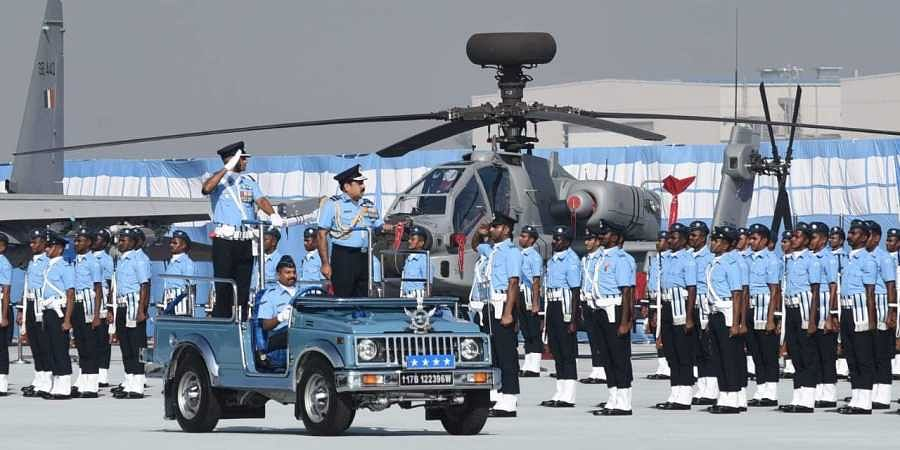 Air Chief Marshal Rakesh Kumar Singh Bhadauria inspect the guard of honour during the 87th Air Force Day at Hindon Air Force Station in Ghaziabad UP on Tuesday. | (Photo | Parveen Negi/EPS)