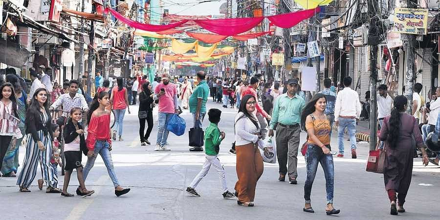 The East civic body implemented a ban on the entry of motor vehicles on a trial basis at Krishna Nagar market in New Delhi on Monday. (Photo| Parveen Negi/EPS)