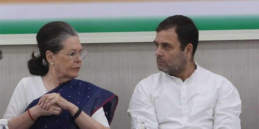 Congress chief Sonia Gandhi with son and party leader Rahul Gandhi in New Delhi.(Photo| Shekhar Yadav/EPS)
