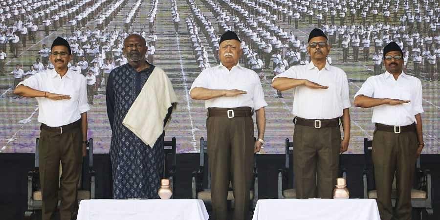 Mohan Bhagwat along with HCL founder and chairman Shiv Nadar during Vijayadashami Utsav 2019 at RSS headquarter in Nagpur of Maharashtra Tuesday