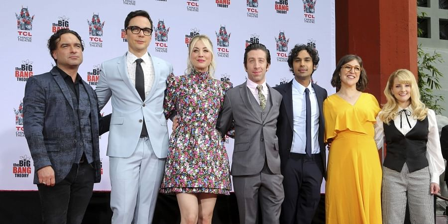 Johnny Galecki, from left, Jim Parsons, Kaley Cuoco, Simon Helberg, Kunal Nayyar, Mayim Bialik and Melissa Rauch, cast members of the TV series 'The Big Bang Theory.' (Photo | AP)