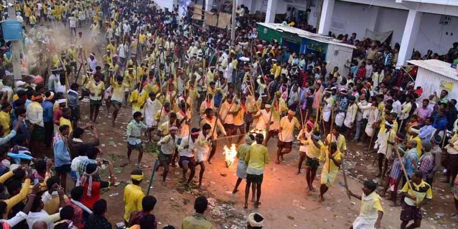 Devotees were fighting with sticks part of the traditional Banni festival at Devaragattu hill nearby Malamalleswara swami temple in Holagunda mandal of Kurnool district on Tuesday midnight.