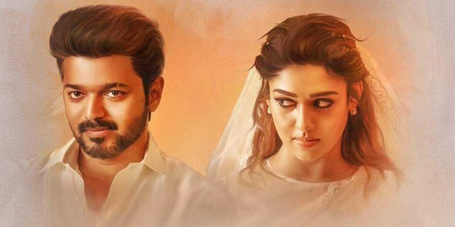 Vijay and Nayanthara in the poster for 'Bigil'.