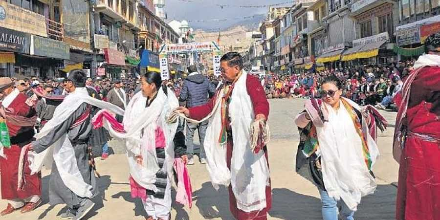 People of Ladakh dance as they celebrate getting UT status in Leh