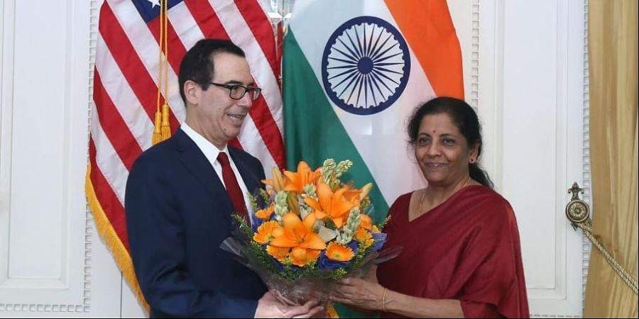 Finance Minister Nirmala Sitharaman welcomes US Treasury Secretary Steven Mnuchin at the 7th India-US Economic and Financial Partnership Dialogue in New Delhi.