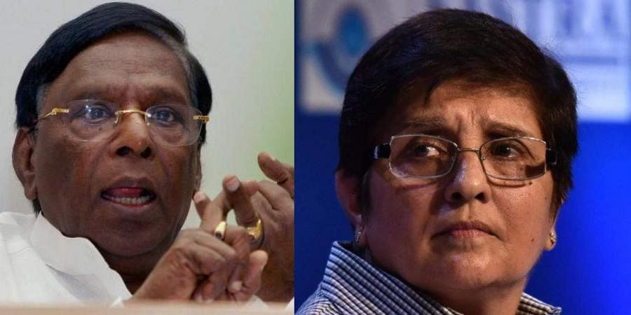 Puducherry Chief Minister V Narayanasamy and Lieutenant Governor of Puducherry (Photos | PTI, EPS)