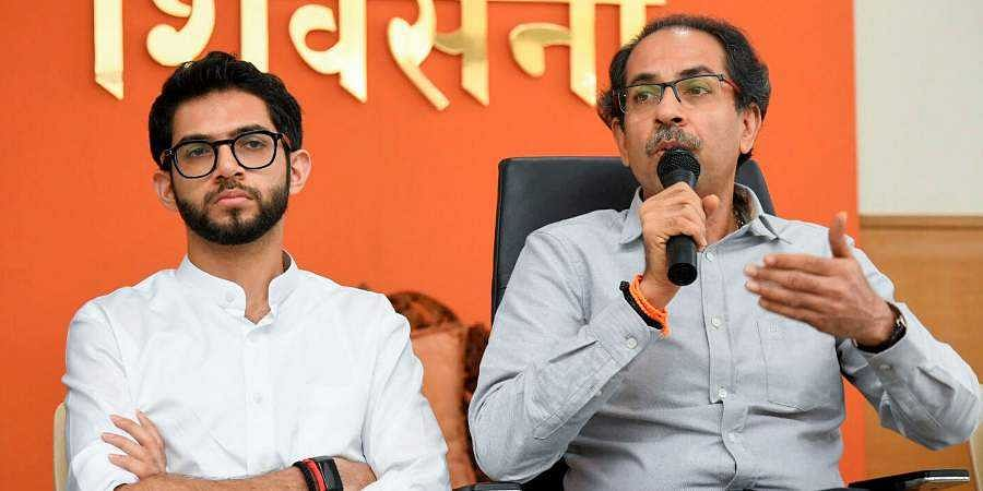 Shiv Sena party Chief Uddhav Thackeray with his son Aaditya Thackeray