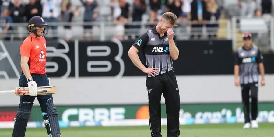New Zealand's James Neesham reacts during the 5th Twenty20 cricket match between New Zealand and England at Eden Park in Auckland. (Photo | AFP)