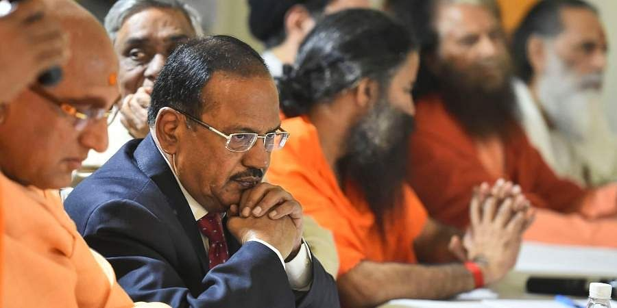NSA Ajit Doval with various religious leaders during an inter-religious faith meeting at his residence in New Delhi.