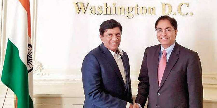 State Planning Board Vice-Chairman B Vinod Kumar with Deputy Chief of Mission, Embassy of India Amit Kumar at Washington DC.