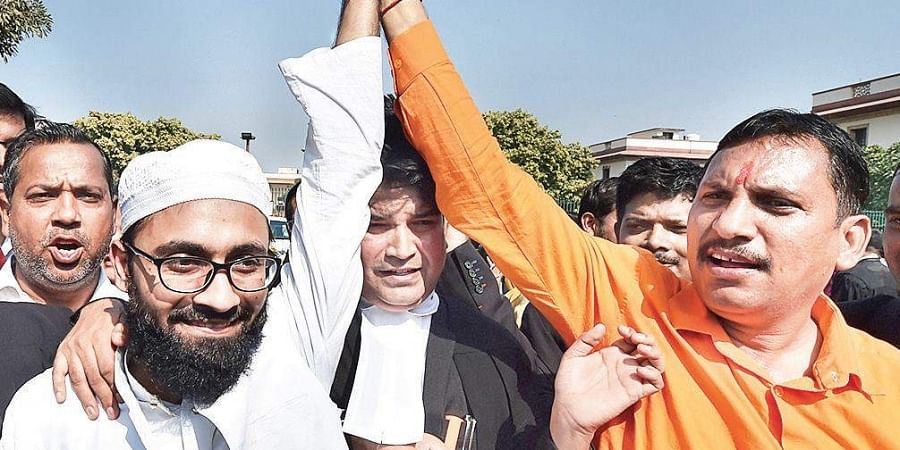 Communal harmony on display outside the Supreme Court on Saturday after the verdict in the Ayodhya temple dispute case