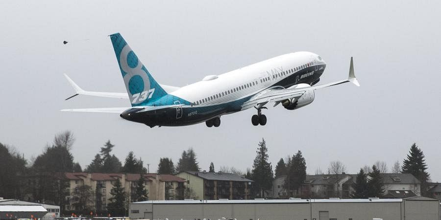 A Boeing 737 MAX takes off during a flight test
