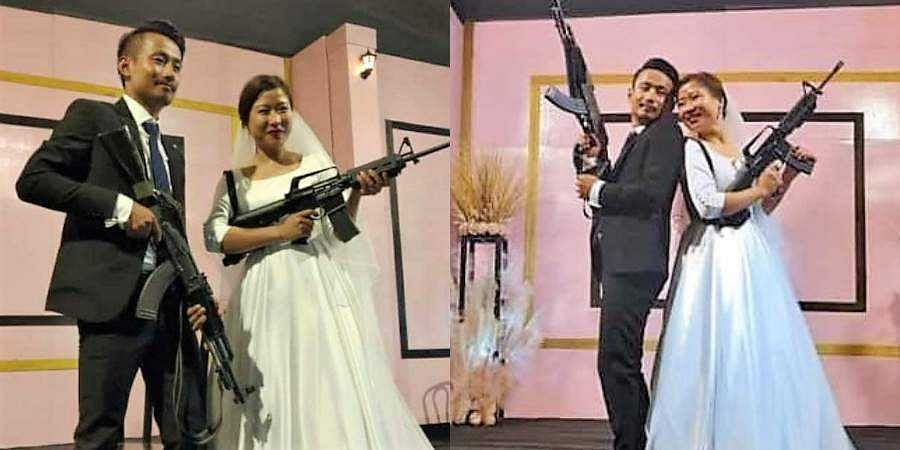 Gun-toting photos of young couple have gone viral on social media.
