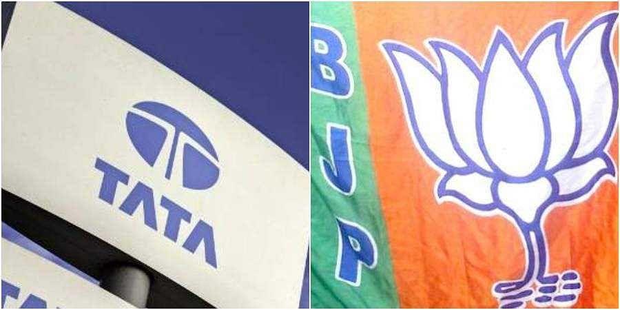 Logo of Tata and BJP (Photos | AFP, EPS)