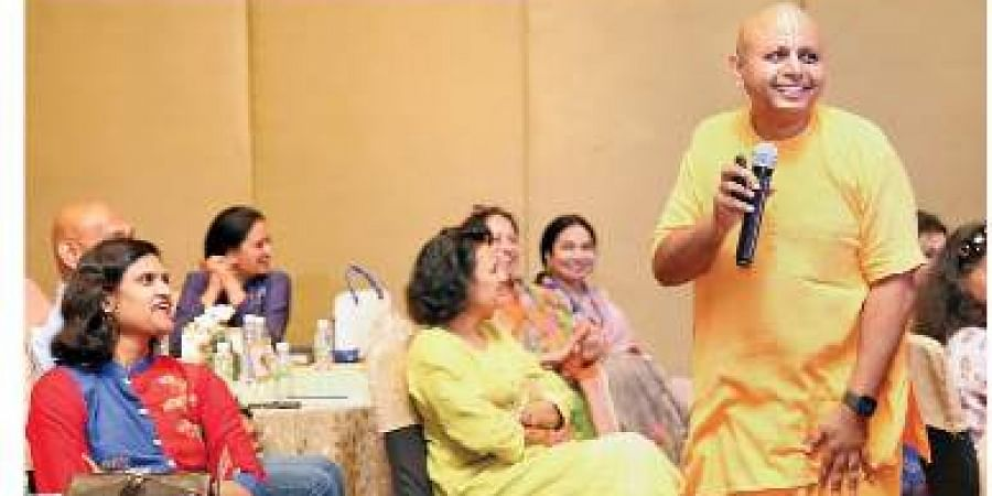 Gaur Gopal Das at FLO event in the city on Monday